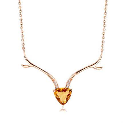 【一鹿有你】系列 玫瑰18K金彩色寶石項鏈鑲鉆石吊墜