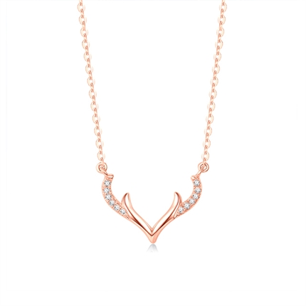 【幸运小鹿】 18k玫瑰金项链麋鹿角锁骨链