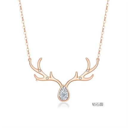【幸运小鹿】 18k玫瑰金项链麋鹿角钻石锁骨链