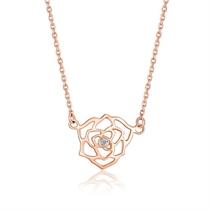 【山茶花】 玫瑰18K金花型钻石吊坠