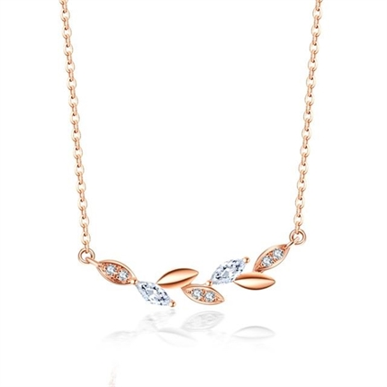 【橄榄枝】 18k玫瑰金橄榄枝项链钻石叶子锁骨链