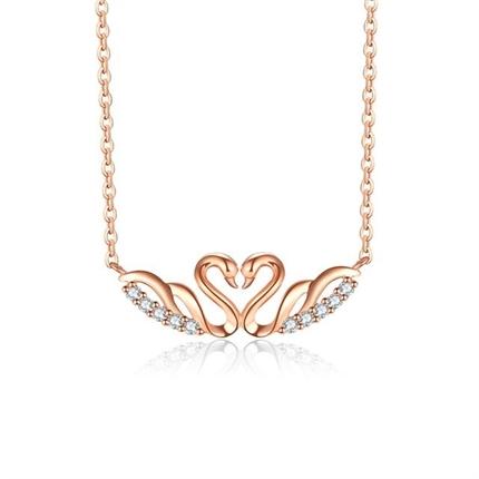 【天鹅之心】 18k玫瑰金钻石锁骨链(双色可选)
