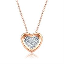 【心形灵动】 18k玫瑰金心形钻石项链吊坠锁骨链