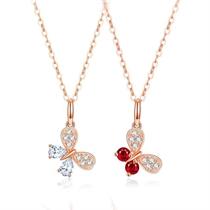 【蝴蝶】 18k玫瑰金钻石项链红宝石锁骨链