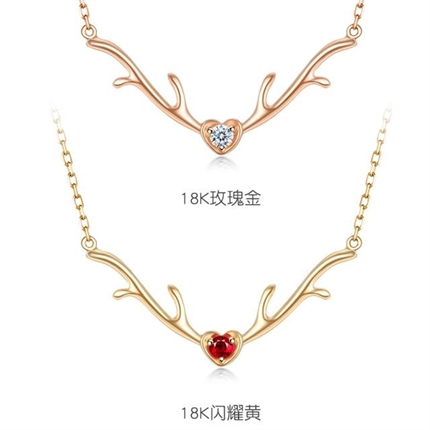 【一鹿有你】 18K金钻石红宝石鹿角锁骨链
