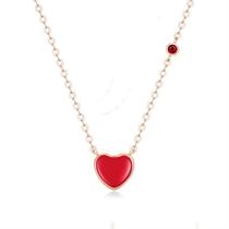 【小红心】 18k玫瑰金珐琅项链心形彩金镶钻锁骨链