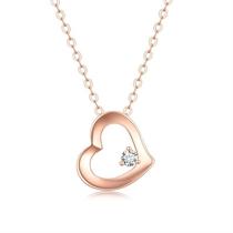 【偏爱】 玫瑰18K金心形镂空钻石吊坠锁骨链