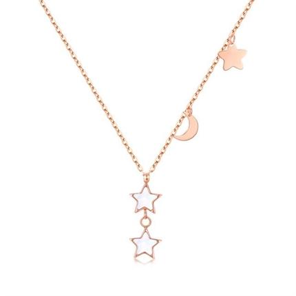 【星月系列-星星河】 18k玫瑰金星月项链