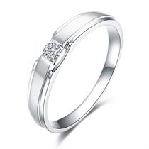 【命中注定】白18K金情侣钻石对戒 白18K金情侣对戒