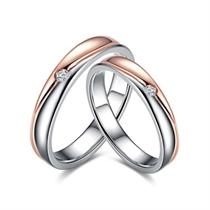 【相伴】18k双色金结婚钻石对戒 玫瑰金情侣对戒