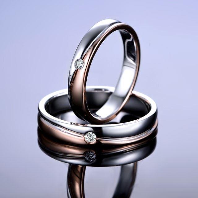 【相伴】18k双色金结婚钻石对戒