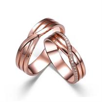 【封存】 18k玫瑰金结婚钻石对戒 玫瑰金情侣对戒