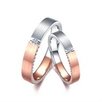 【焦点】 18k双色金钻石结婚对戒 玫瑰金情侣对戒