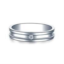 【守护】 白18k金钻石结婚对戒 白18K金情侣对戒
