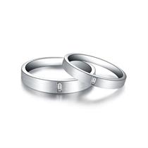 【印记】 白18k金简约情侣钻石对戒 白18K金情侣对戒