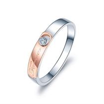 【相恋】 18K双色金时尚钻石订婚对戒 玫瑰金情侣对戒