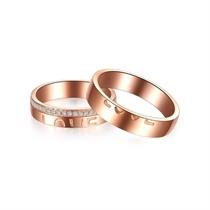 【情书】 18K玫瑰金浪漫订婚结婚对戒 玫瑰金情侣对戒