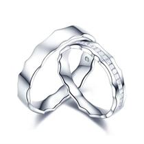 【相随】 白18k金浪漫情侣钻石对戒 白18K金情侣对戒