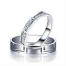 【相扣】 白18k金钻石情侣对戒