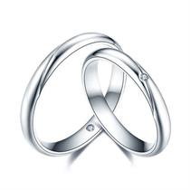 【爱的印记】 白18k金结婚订婚钻石对戒 白18K金情侣对戒