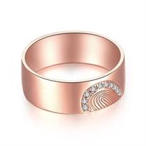 【指纹】 18k玫瑰金指纹钻戒 玫瑰金情侣对戒