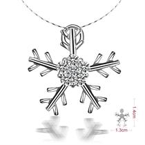 【圣诞雪花】 白18k金13分/0.13克拉钻石吊坠