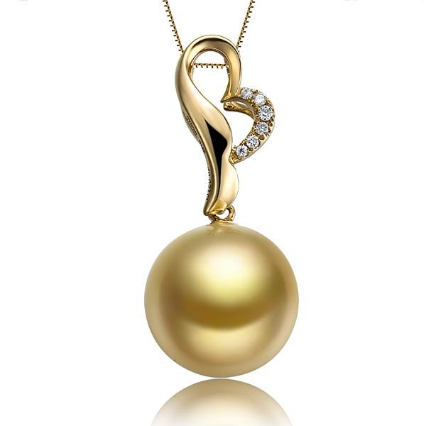 佐卡伊 英姿 南洋金珠钻石吊坠 黄18K金女式吊坠