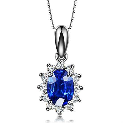 【梦之蓝】 白18k金0.5克拉蓝宝石吊坠