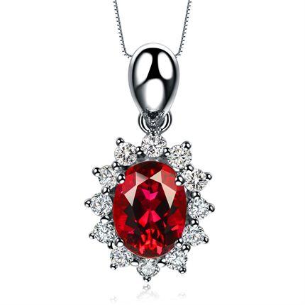 【激情】 玫瑰金红宝石吊坠