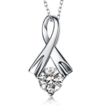 【幽雅】 白18k金23分钻石吊坠