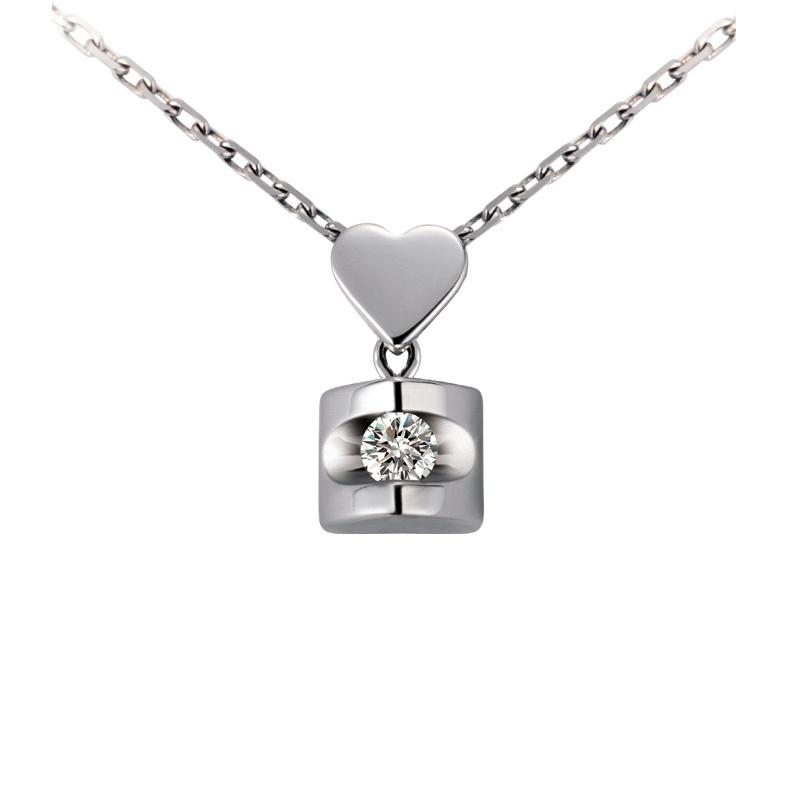 佐卡伊.天使之吻-白18K金1分/0.008克拉钻石女式吊坠
