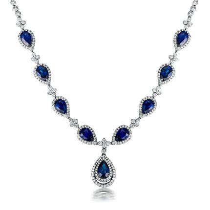 【维纳斯之泪】系列 白18K金12克拉奢华蓝宝石吊坠