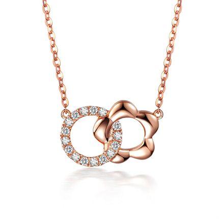 【花语】 玫瑰18K金花形钻石吊坠【双色可选】