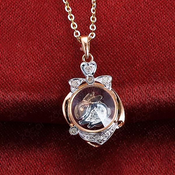 佐卡伊 月中玉兔  18K双色金钻石吊坠