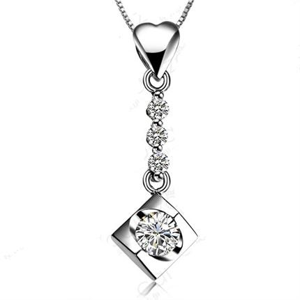 【梦之吻】 白18k金钻石吊坠