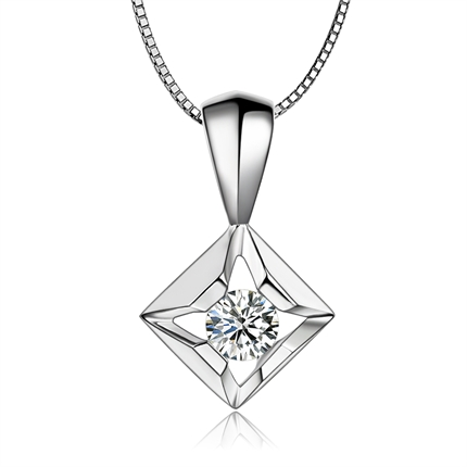 【天使之吻】 白18k金13分/0.13克拉钻石吊坠