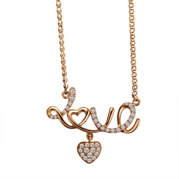 爱的告白 18K彩金项链新款促销价2999元 -玫瑰金女式吊坠