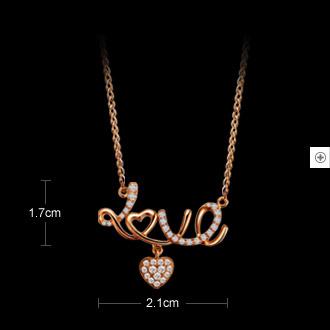 爱的告白 18K彩金项链新款促销价-玫瑰金女式吊坠