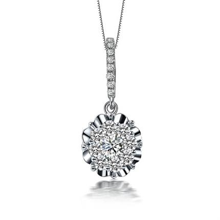【爱之光】 白18k金42分/0.42克拉钻石吊坠