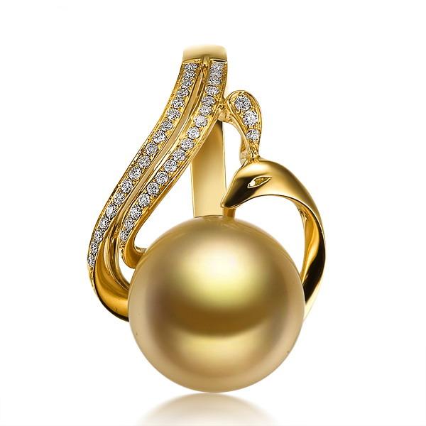 凤凰仙姿黄18k 金南洋金色珍珠钻石吊坠