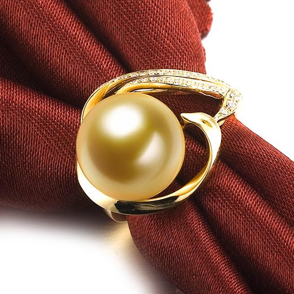 凤凰仙姿黄18k 金南洋金色珍珠钻石吊坠,