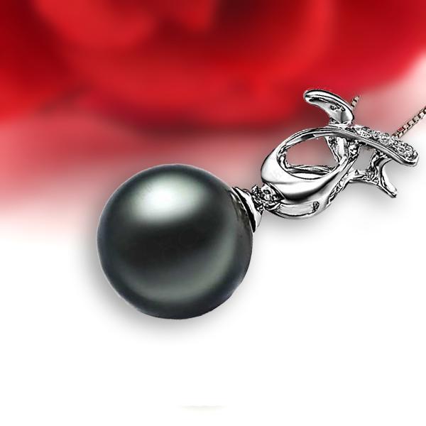 佐卡伊 赐爱 大溪地黑珍珠吊坠-白18K金女式吊坠
