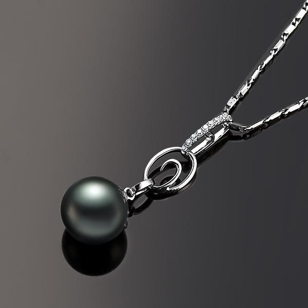 佐卡伊 情系大海  大溪地黑珍珠钻石吊坠 白18K金女式吊坠