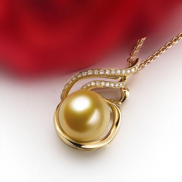 佐卡伊 凤凰黄18k金南洋金色珍珠钻石吊坠,珍珠直径12-13mm
