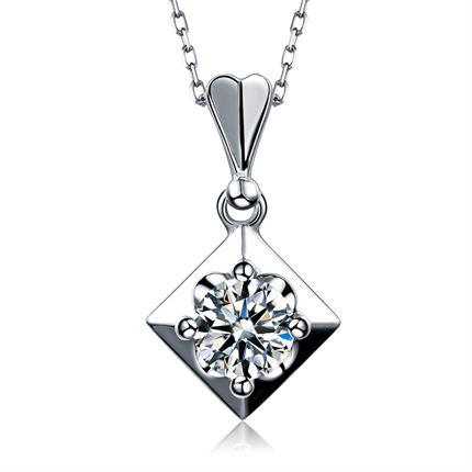 白18K金 50分/0.5克拉钻石吊坠