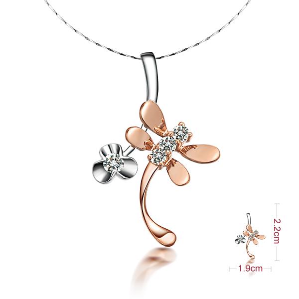 佐卡伊 蜻蜓飞舞-白红18K金1分/0.005克拉钻石女式吊坠