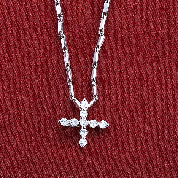 佐卡伊 誓言 -白18K金1分/0.012克拉钻石女式吊坠  十字架吊坠
