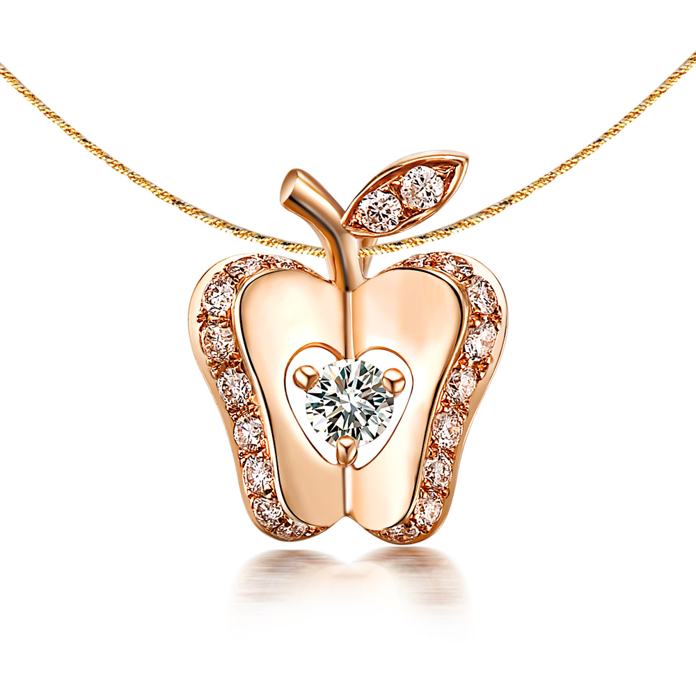 18K玫瑰金钻石吊坠金苹果