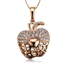【苹果的心】 黄18K金0.5分/0.005克拉钻石吊坠