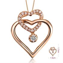 【心心相扣】 0.9分/0.009克拉玫瑰金钻石吊坠